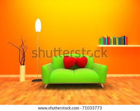 Modern and warm interior design. Two cushion are placed on the sofa and relying on each other. - stock photo