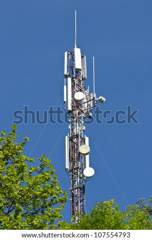 Modern antenna equipment for mobile communications in the sky - stock photo