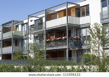 Modern apartement building - stock photo