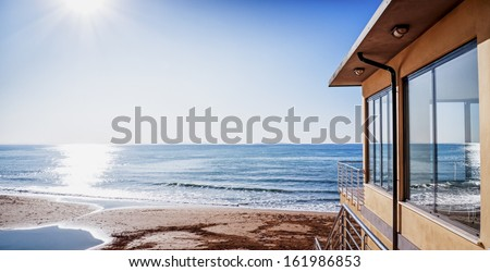 modern apartment at a beach in italy - stock photo