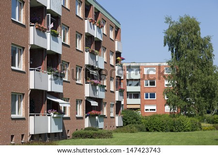 Modern apartment buildings in Kiel, Germany - stock photo
