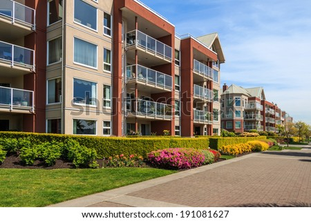 Modern apartment buildings in New Westminster, British Columbia, Canada. - stock photo