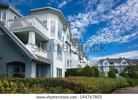 Modern apartment buildings in Richmond, British Columbia, Canada. - stock photo