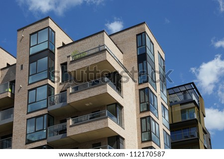 modern apartment house - stock photo