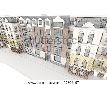 Modern apartment house between old, historical tenements. Architectural visualization. - stock photo