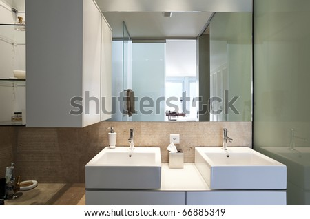 modern apartment interior view, two sinks - stock photo