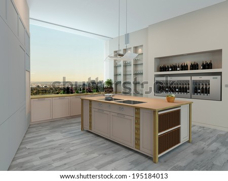 Modern apartment kitchen interior with wall units and shelving and a central island overlooking a large wall length view window - stock photo