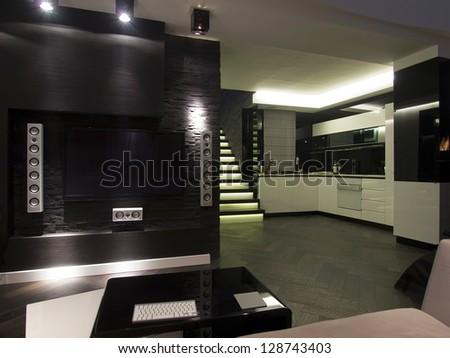 Modern apartment living room - stock photo