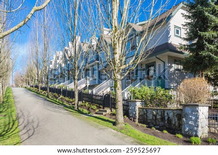 Modern apartment, townhouse buildings in Vancouver, British Columbia, Canada. - stock photo