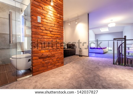 Modern apartment with bedroom on the balcony, loft - stock photo