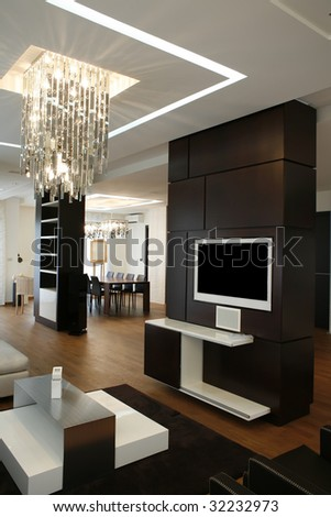 modern apartment with lcd installed in wall - stock photo
