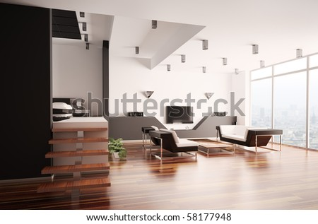 Modern apartment with living room and bedroom interior 3d - stock photo