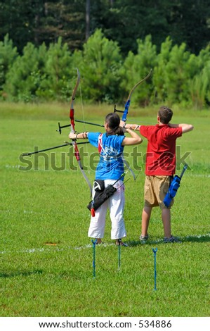 Modern Archery Competition - stock photo