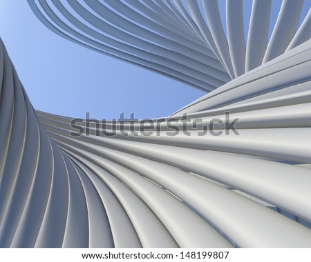 Modern architectural conceptual design. Geometric construction creative wallpaper - stock photo