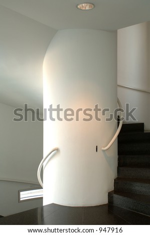 modern architecture - a circular staircase - stock photo