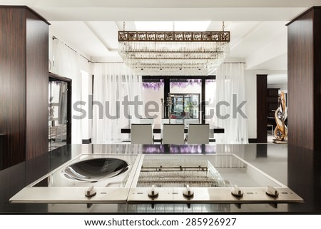 Modern architecture, beautiful kitchen of a luxury apartment - stock photo