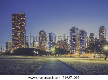 Modern architecture by dusk - stock photo