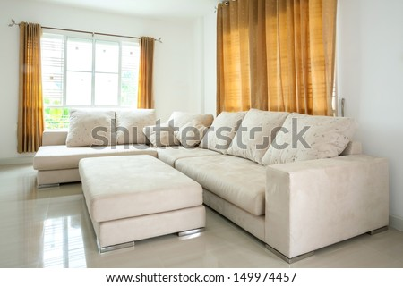 modern architecture contemporary, interior, large livingroom - stock photo