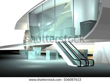 modern architecture 3d render, downtown - stock photo