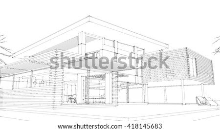 modern architecture exterior - stock photo