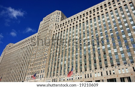 Modern architecture in downtown Chicago, featuring the Merchandise Mart - stock photo