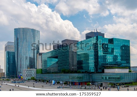 Modern architecture in La Defense, the main business district of Paris - France. - stock photo