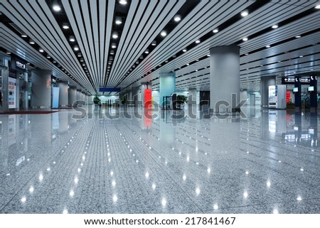 modern architecture in the airport terminal, underground parking lot channel  - stock photo