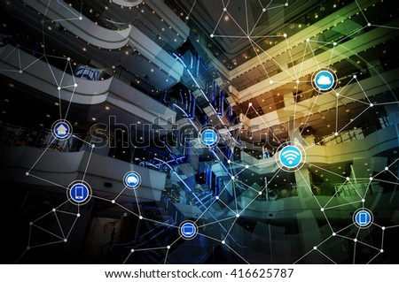 modern architecture interior and wireless communication network, abstract image visual - stock photo