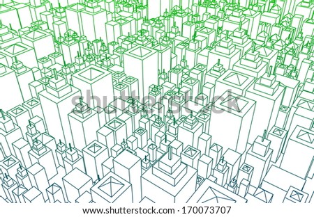 Modern Architecture Mesh City Wireframe Lines Basic - stock photo
