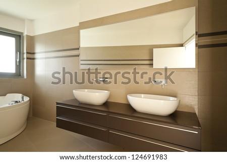 modern architecture, new empty apartment, bathroom - stock photo