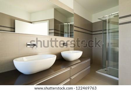 modern architecture, new empty apartment , doors - stock photo