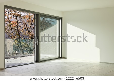modern architecture, new empty apartment, room - stock photo