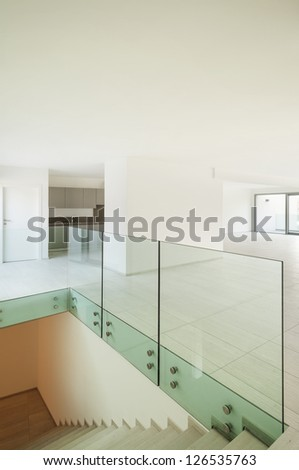 modern architecture, new empty apartment, staircase - stock photo