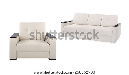 modern armchair and sofa isolated on white background - stock photo
