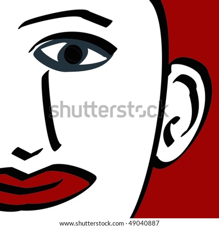 modern art illustration of a face - stock photo