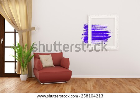 Modern art in picture frame on a wall in living room (3D Rendering) - stock photo