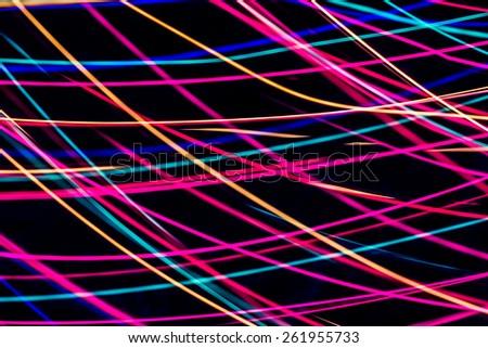 Modern art. Long exposure neon lights texture, blur - stock photo
