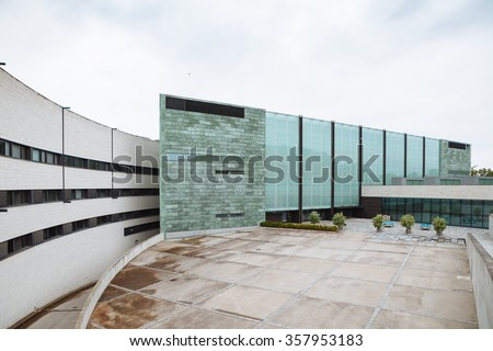Modern art museum architecture - Kumu, Tallinn, Estonia. Entrance for visitors - stock photo