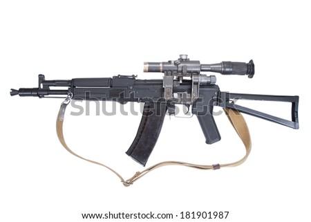 modern assault rifle ak105 with optical sight on white - stock photo