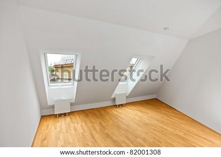 modern attic flat - stock photo