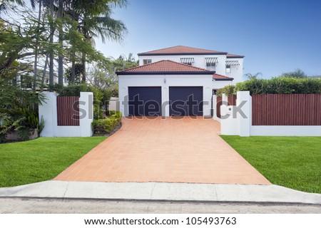 Modern Australian house front - stock photo