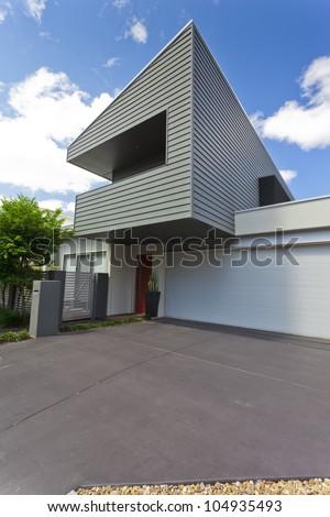 Modern Australian house front, vertical - stock photo