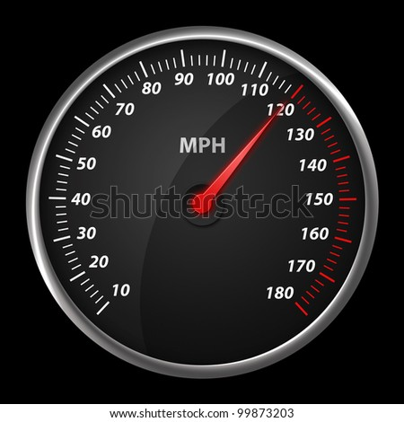 Modern auto speed meter on black,included clipping path - stock photo