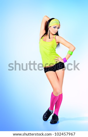Modern ballet dancer dancing at studio. - stock photo