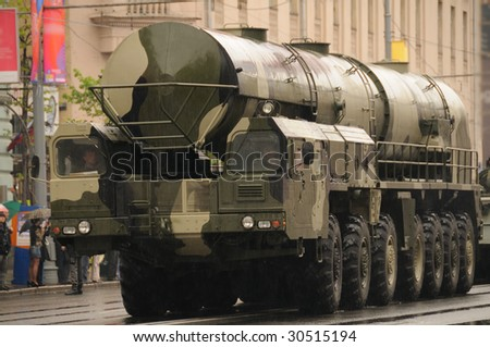 Modern ballistic nuclear missile on rehearsal of military parade in Moscow, Russia - stock photo