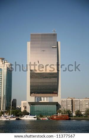 Modern Bank Building by Creek Dubai - stock photo