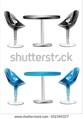 Modern bar table with two chairs on white background - stock photo