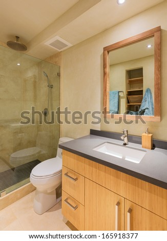 Modern bathroom in luxury home - stock photo
