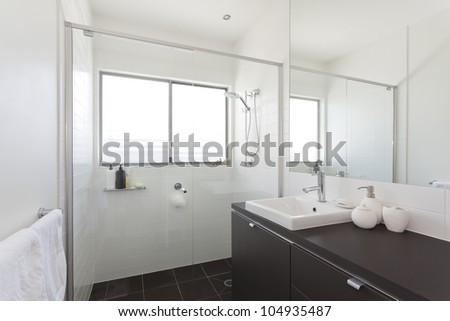 Modern bathroom in stylish Australian house - stock photo