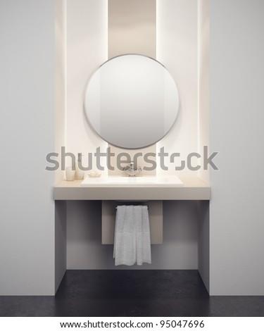 modern bathroom interior 3d rendering - stock photo